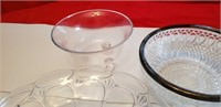 SILVERPLATED CRYSTAL AND GLASS FRUIT - SALAD BOWLS