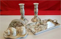 4 PC PORCELAIN TABLE SETTING, 3-PC SALT&PEPPER SET