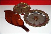 3 SERVING TRAYS, WALNUT TRAY, LEAF SHAPED NUT TRAY