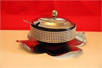 SERVING TRAY NEW IN BOX, WITH BUTTER-RELISH DISH