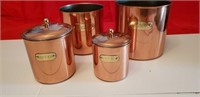 ANTIQUE COPPER CANISTERS - FLOUR SUGAR COFFEE TEA