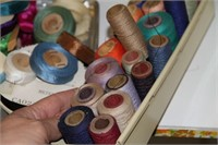 LARGE LOT OF SPOOLS OF THREADS, NOTIONS/RIBBONS
