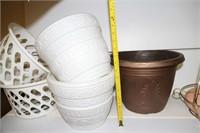 LOT OF PLASTIC PLANTERS, BRASS POT HANGERS, ETC