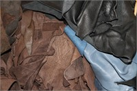 BOX OF LEATHER PIECES (FROM SEAMSTRESS COLLECTION)