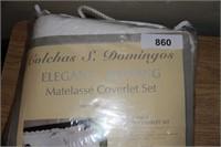 ELEGANT MATELASSE COVERLET SET, 100% COTTON, NEW