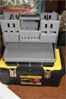 TOOL BOX, TOOL SHELF, WITH TOOLS - SEE PICTURES