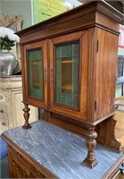 11 - STUNNING ANTIQUE BUFFET CABINET W/MARBLE TOP