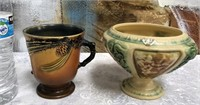 34 - PAIR OF ANTIQUE ROSEVILLE POTTERY PIECES