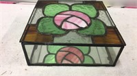 Leaded Stained Glass Jewelry Box approx 8x8