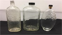 Trio of Vintage Glass Bottles