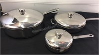 Trio of Farberware Pans with Lids