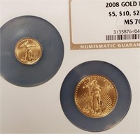 "2008 ""MS70"" - GOLD EAGLES ""$5 - $10 - $25 - $50"""