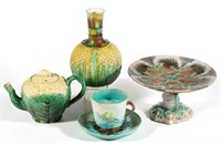 Wide selection of ceramics, including majolica
