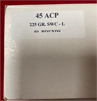 335 - LOT OF 50 ROUNDS OF 45 ACP 225 GR SWC-L AMMO