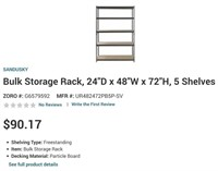 "BULK STORAGE RACK ""5 SHELVES"" $90 - ONLINE"