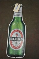 "Becks Imported tin sign approximately 25""x8"""