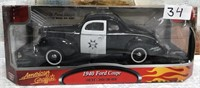 1940 FORD COUPE POLICEDIE CAST CAR IN BOX