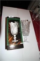"""ELIZA CRYSTAL VASE WITH SAW TOOTH EDGE' 13.5"""" h"""
