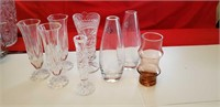 BEAUTIFUL LOT OF 8 SMALL CRYSTAL AND GLASS VASES