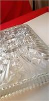 COLLECTORS HEAVY ART DECO GLASS SERVING TRAY