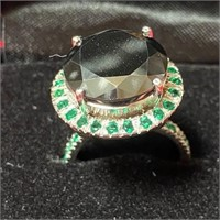 349 - BLACK DIAMOND RING 12 CTS 925 SILVER W/CERT