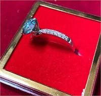 STUNNING 925 SILVER BLUE DIAMOND RING W/ AGI CERT