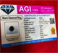 BEAUTIFUL BLACK DIAMOND 925 SILVER RING W/AGI CERT