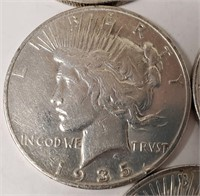 LOT OF 5 SILVER PEACE DOLLARS (G)