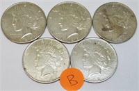 LOT OF 5 SILVER PEACE DOLLARS (B)