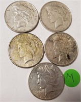 LOT OF 5 SILVER PEACE DOLLARS (M)