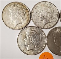 LOT OF 5 SILVER PEACE DOLLARS (D)