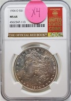 "1904 ""O'' ""MS64"" - MORGAN SILVER DOLLAR (X4)"