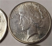 LOT OF 5 SILVER PEACE DOLLARS (Z)