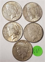 LOT OF 5 SILVER PEACE DOLLARS (W)