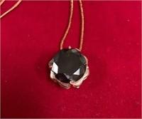 349 - BLACK DIAMOND PENDANT 11.25CTS W/CERT & CHAI
