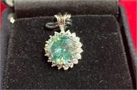 349 - BLUE DIAMOND PENDANT 925 SILVER W/CERT & CHA