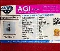 349 - BLACK DIAMOND PENDANT W/AGI CERT & CHAIN
