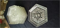 Group of 8 Wexford pattern glass plates approx 7