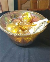 Marigold grape motif punch bowl and cups