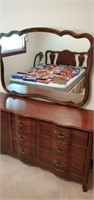 Beautiful dark wood dresser with mirror approx