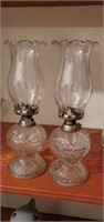 Pair of beautiful oil lamps approx 12 inches tall