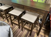 C - NEW ASHLEY PUB TABLE W/ 3 STOOLS & PLUG INS