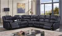 NEW IN BOX - BLACK LEATHER SECTIONAL W/ RECLINERS