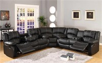 GORGEOUS BLACK SECTIONAL W/ RECLINER - NEW IN BOX
