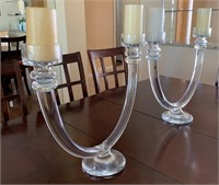 21 - PAIR OF UNIQUE CRYSTAL CANDLE AUBRAS