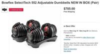 NEW BOXFLEX SELECTECH 552 ADJUSTABLE BUMBBELLS