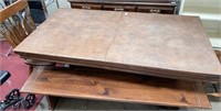 343 - SOLID WOOD TABLE W/2 CHAIRS & BENCHES W/HUTC
