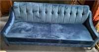 C - NEW BEAUTIFUL BLUE COUCH W/ GOLD LEGS