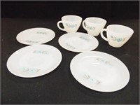 Fire-King Bonnie Blue Saucers (4), Cups (3)