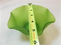 Green Glass Ruffle Edge Bowl